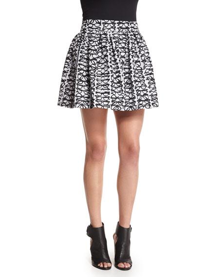 Alice + Olivia Fizer Box-Pleated Glasses Skirt, Black/White
