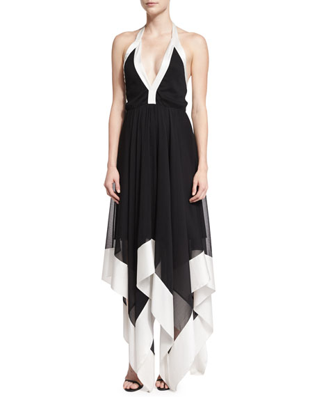 Alice + Olivia Ember Colorblock Chiffon Halter Dress,