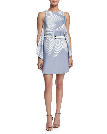 Halston Heritage Printed Dress with Belt