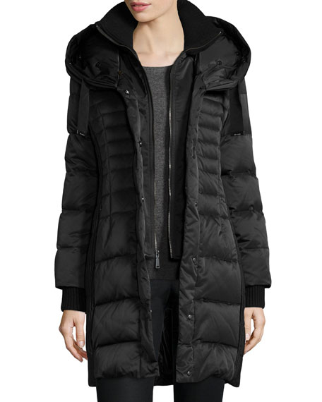Fitted Puffer Coat with Fur-Trim Hood
