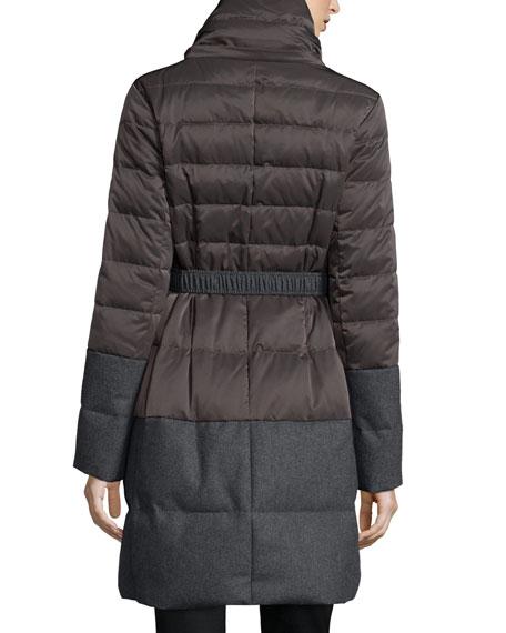 T Tahari Belted Nylon Puffer Coat, Concrete