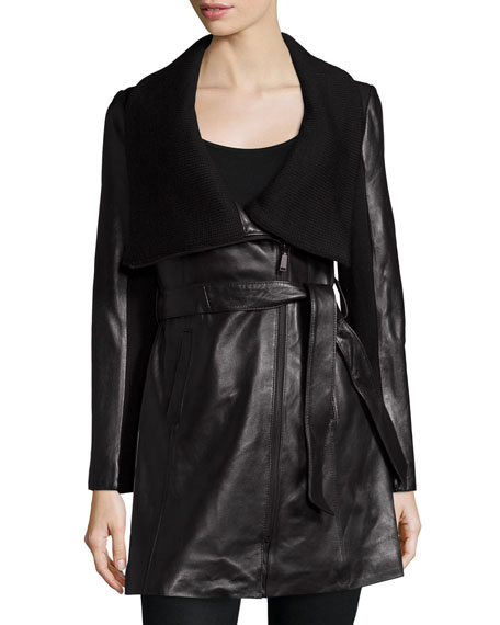 Leather & Knit Belted Wrap Coat