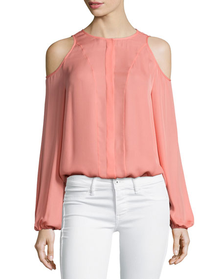 Tamara Mellon Cold-Shoulder Blouse, Sunset
