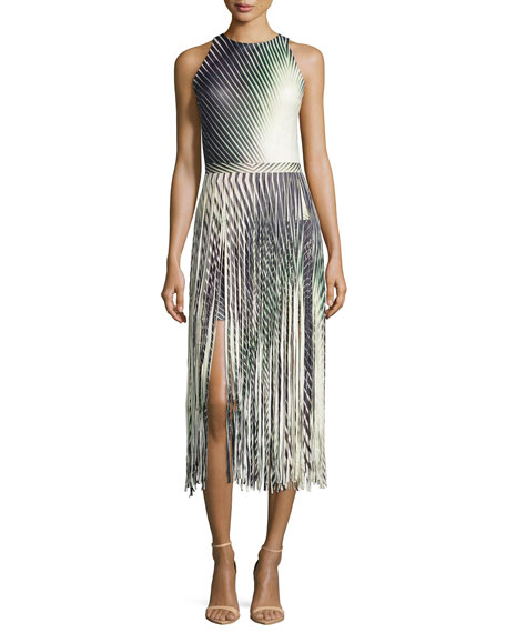Tamara Mellon Printed Leather Fringe Dress, Multicolor