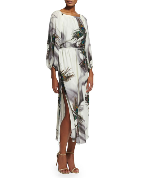 Tamara Mellon Peacock-Print Peasant Dress, Multicolor