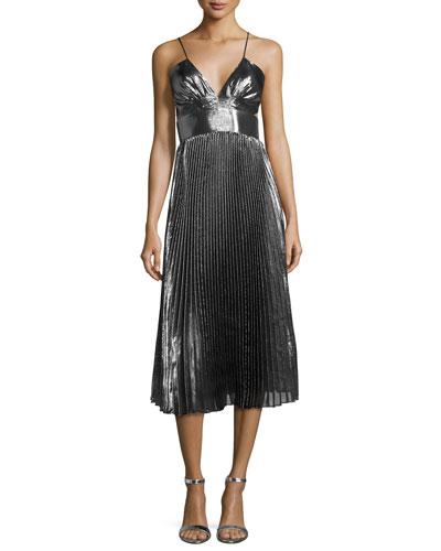 Sleeveless Cami Pleated Dress
