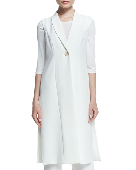 Neiman Marcus Sleeveless Long One-Button Vest, Half-Sleeve Combo