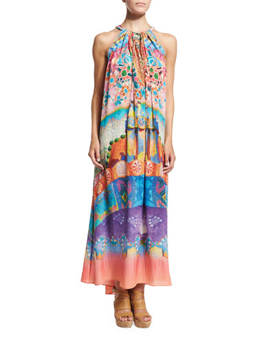 Printed Drawstring Coverup Dress, Casa Mila