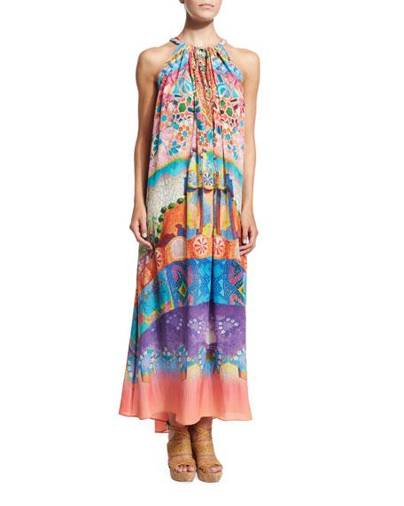 Camilla Printed Drawstring Coverup Dress, Casa Mila