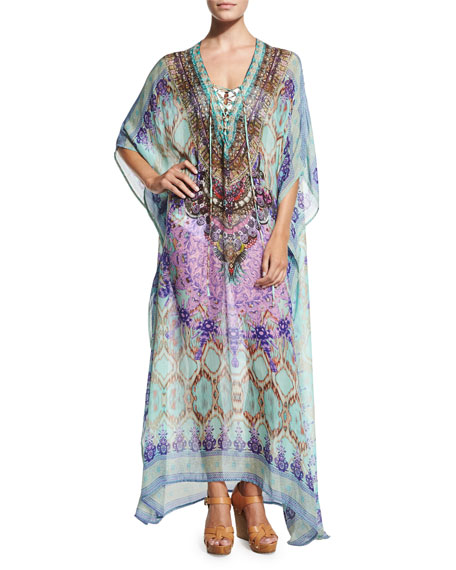 Camilla Printed Lace-Up Caftan Coverup