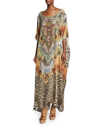Beaded-Front Round-Neck Caftan Coverup