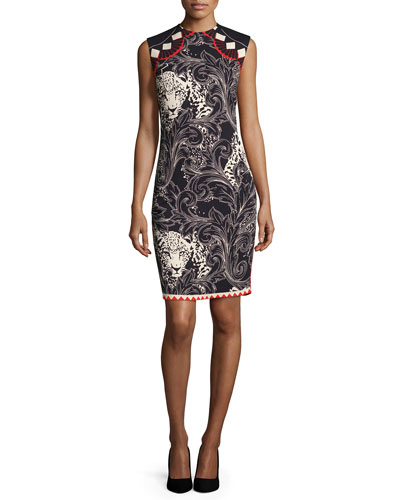 Sleeveless Cheetah Printed Sheath Dress