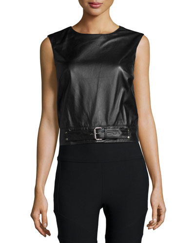 Crewneck Sleeveless Belted Leather Crop Top