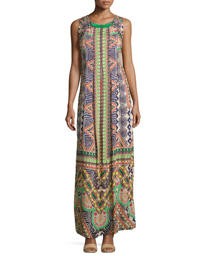 Sleeveless Embroidered Maxi Dress, Multi Colors