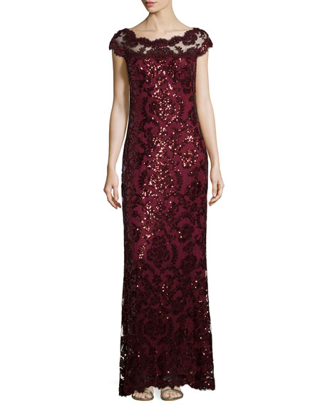 Tadashi Shoji Cap-Sleeve Sequined Lace Gown