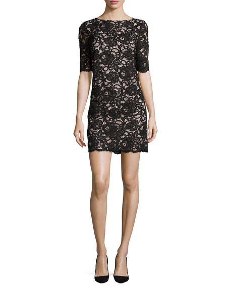 kate spade new york 3/4-sleeve lace sheath dress