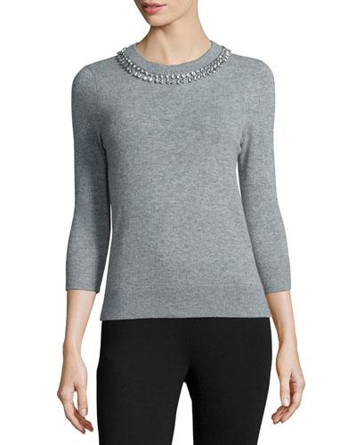3/4-sleeve embellished sweater