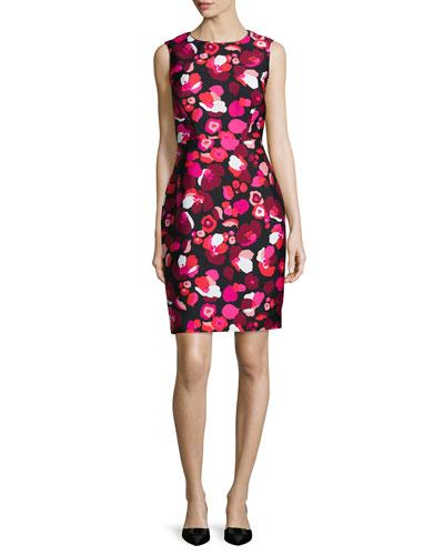 sleeveless floral-print cocktail sheath dress