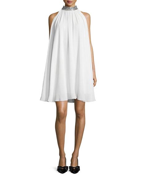 sleeveless halter jeweled-neck trapeze dress