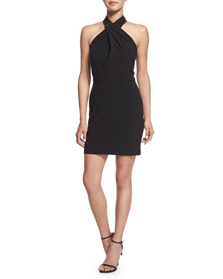 Halston Heritage Crisscross Halter Stretch-Knit Dress