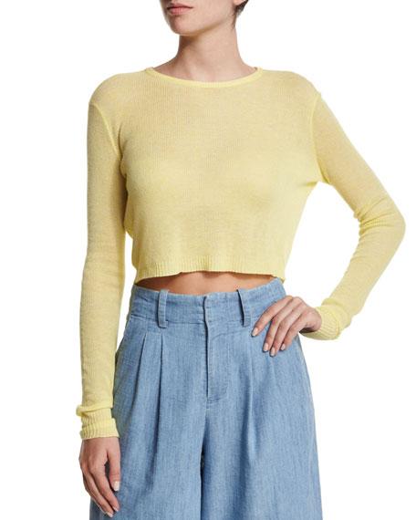 Alice + Olivia Eamon Sheer Cropped Sweater, Yellow