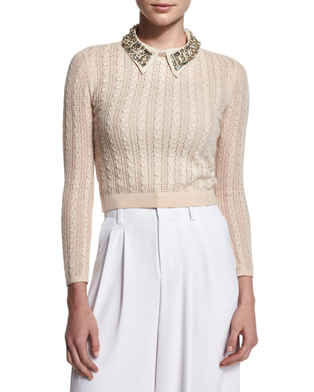 Alice + Olivia Tamsin Cropped Cable-Knit Sweater, Tan