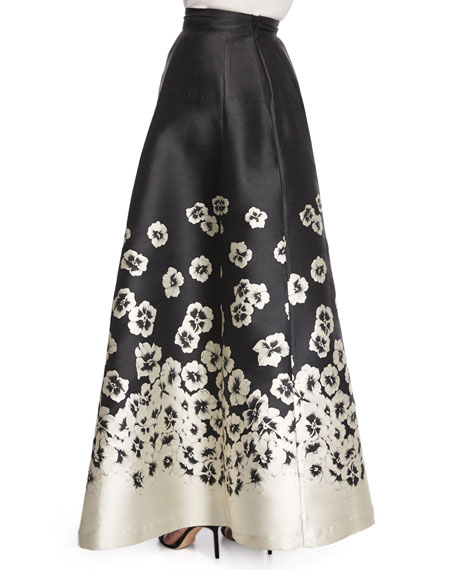 Suir Floral-Print Full Ball Skirt
