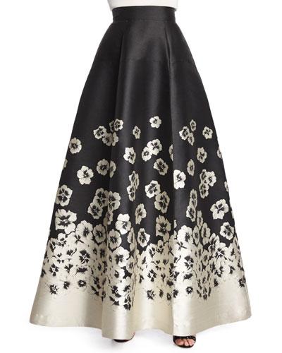 Suir Floral-Print Full Ball Skirt