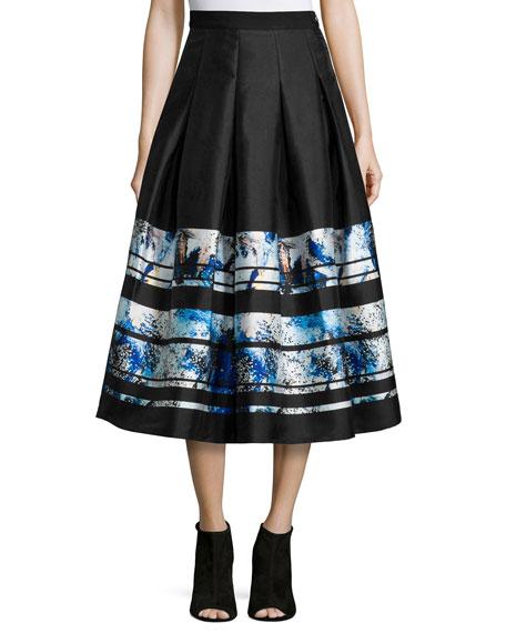 Sachin & Babi Noir Brushstroke-Border Pleated Midi Skirt