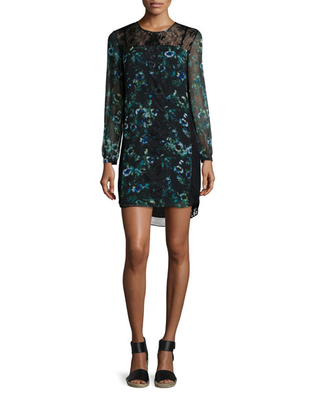 Haute Hippie Long-Sleeve Floral Organza Shift Dress