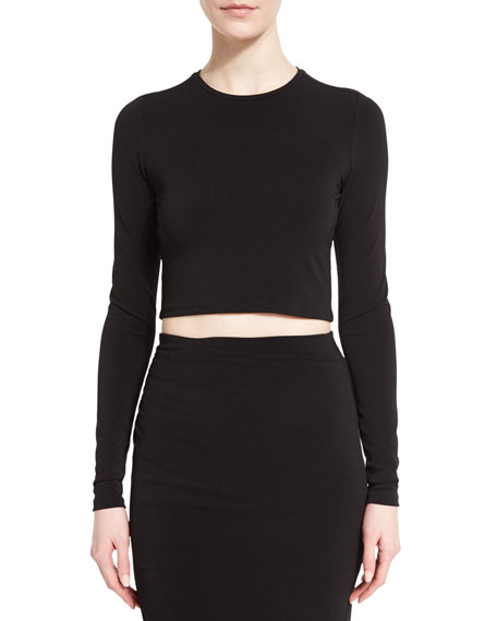 Alice + Olivia Long-Sleeve Jet Cropped Top, Black