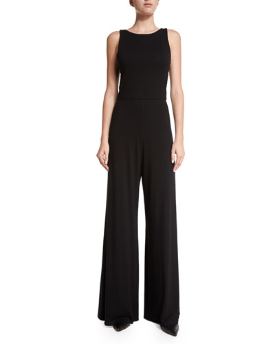 Alice + Olivia Judee Open-Back Jumpsuit. Black