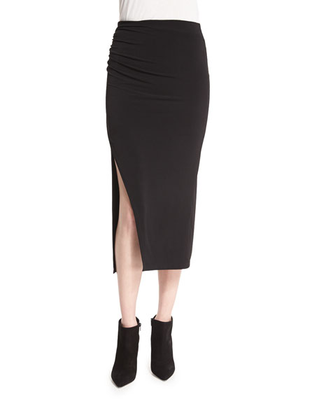 Alice + Olivia Ann Shirred Midi Skirt, Black