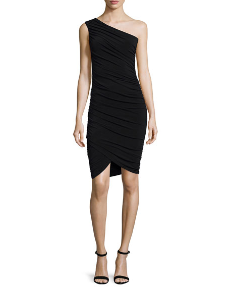 Alice + Olivia Deedee Ruched One-Shoulder Sheath Dress, Black