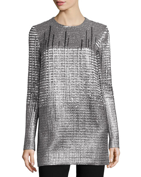 Carmen Marc Valvo Long-Sleeve Metallic Tunic
