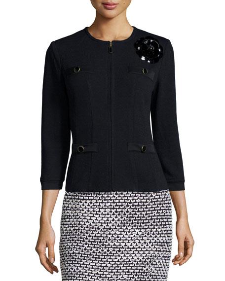 St. John Collection Santana Embellished Zip-Front Jacket, Black