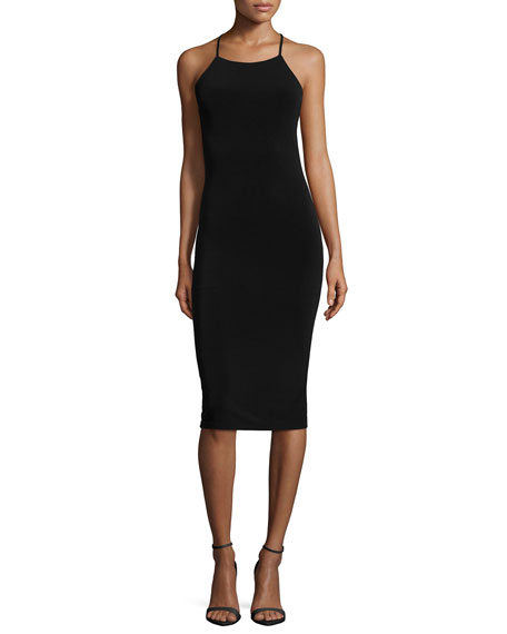 Alice + Olivia Esther Mesh-Inset Sheath Dress, Black