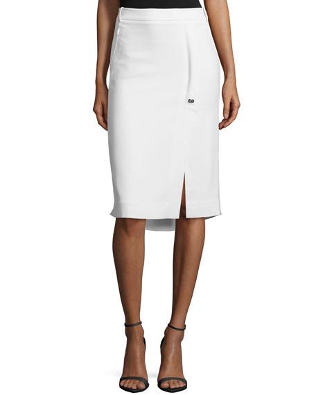 Halston HeritageHigh-Low Pencil Skirt W/ Slit