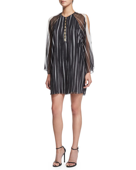Halston Heritage 3/4-Sleeve Striped Shift Dress