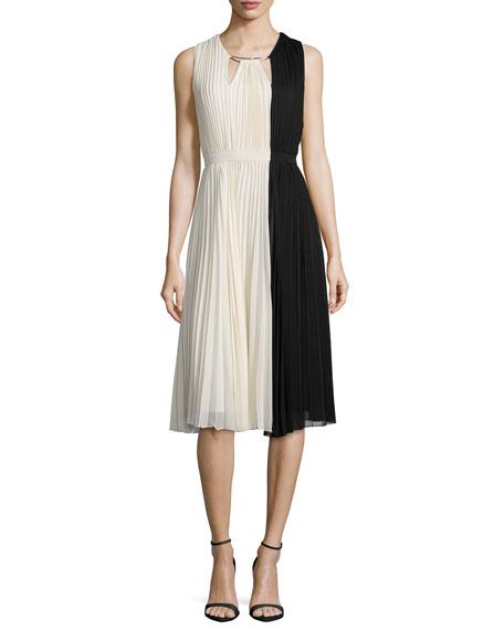 Halston Heritage Sleeveless Colorblock Pleated Dress