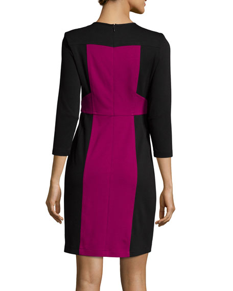 Nanette Lepore 3/4-Sleeve Colorblock Sheath Dress