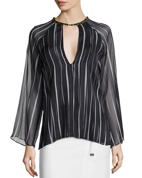 Halston Heritage Long-Sleeve Striped Flow Top