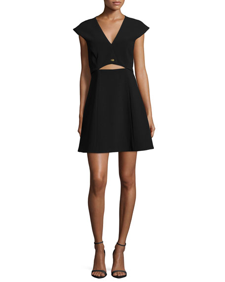 Halston Heritage Cap-Sleeve Cropped-Top Dress W/ Turn-Lock
