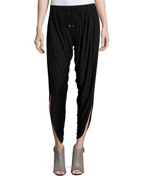 Slit-Hem Drawstring Harem Pants, Black