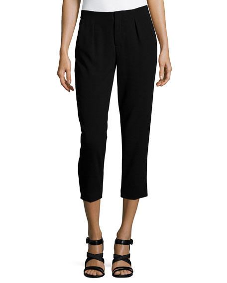 Haute Hippie Pleated Capri Pants, Black