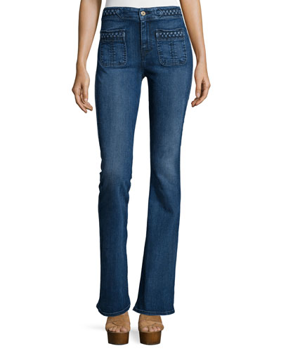Braid-Trim Flare Jeans, Vivid Medium Indigo