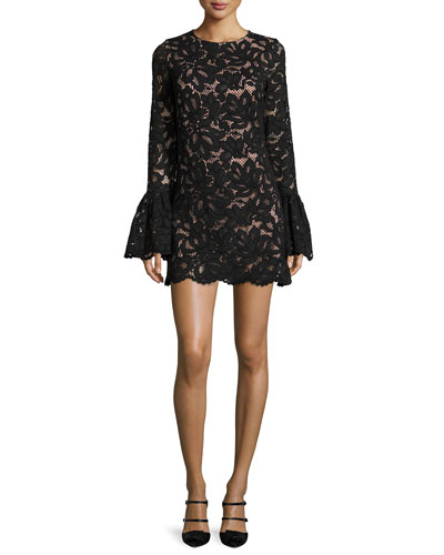 Rustam Lace Mini Dress, Black