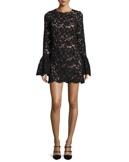 Rustam Lace Mini Dress, Black