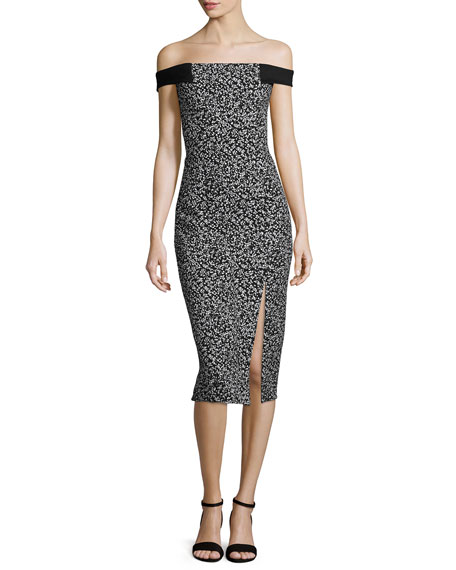 Nicholas Off-The-Shoulder Sheath Dress, Static Print