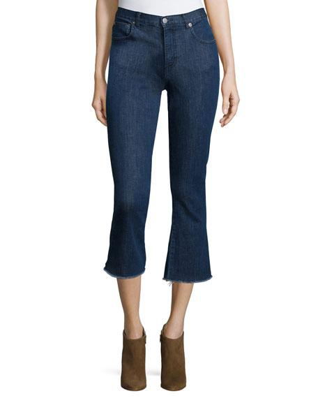 NICHOLAS Flare-Leg Cropped Jeans, Indigo